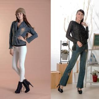 【RH】日系刺繡外套+刺繡喇叭牛仔褲(活力藍二件組剩下S跟XXL最後數量)