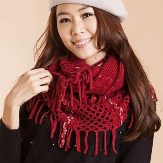 【雪莉亞】銀絲麻花紋針織流蘇圍脖(紅色.黑色.綠色.黃色)