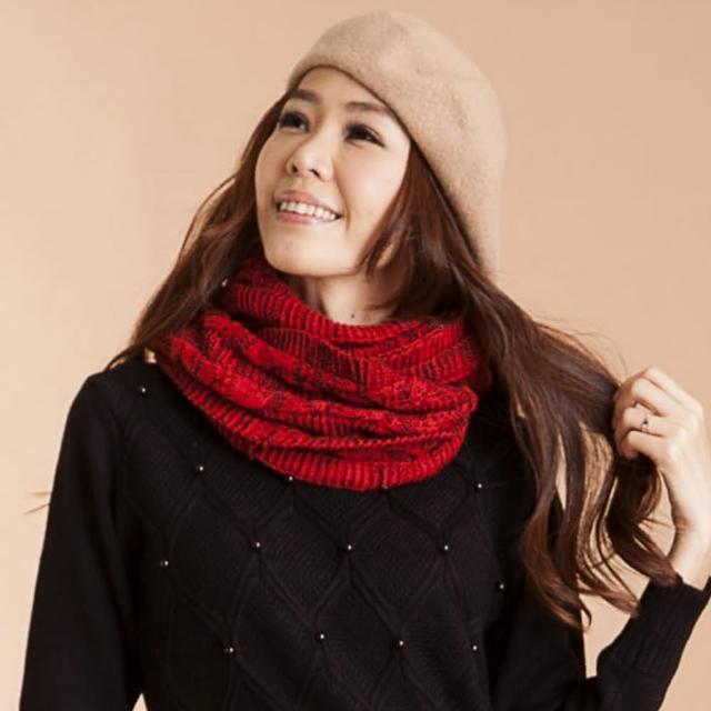 【雪莉亞】百搭款雙色針織圍脖(紅+黑.酒紅+黑.白+黑)