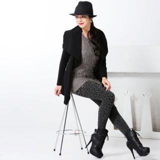 【韓依 HANN.E】台灣製顯瘦版竹炭聚熱3D立體絨毛保暖雕塑褲(百搭時尚黑灰豹紋款G88LE)