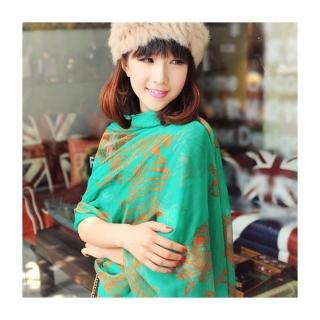 【轉行賣絲巾】柔絲雪紡圍巾 斑馬批肩 絲巾(綠色626DL)