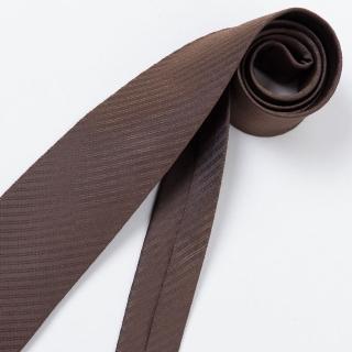 【極品西服】經典Teflon防潑水100%絲斜紋領帶_ 咖啡暗紋(YT3001)