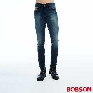 【BOBSON】男款低腰針織合身直筒褲(藍1803-53)