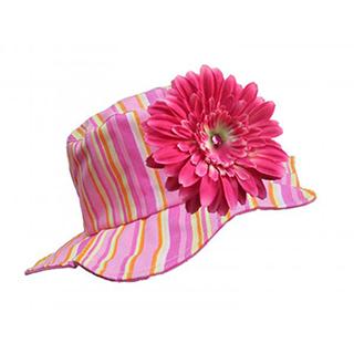 【美國 Jamie Rae】嬰幼女童100%純棉防曬遮陽帽_糖果粉條紋帽+糖果粉雛菊(JRSHDPS01)