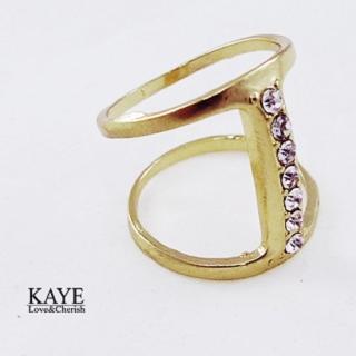 【Kaye歐美流行飾品】I字鑲嵌水鑽造型戒指