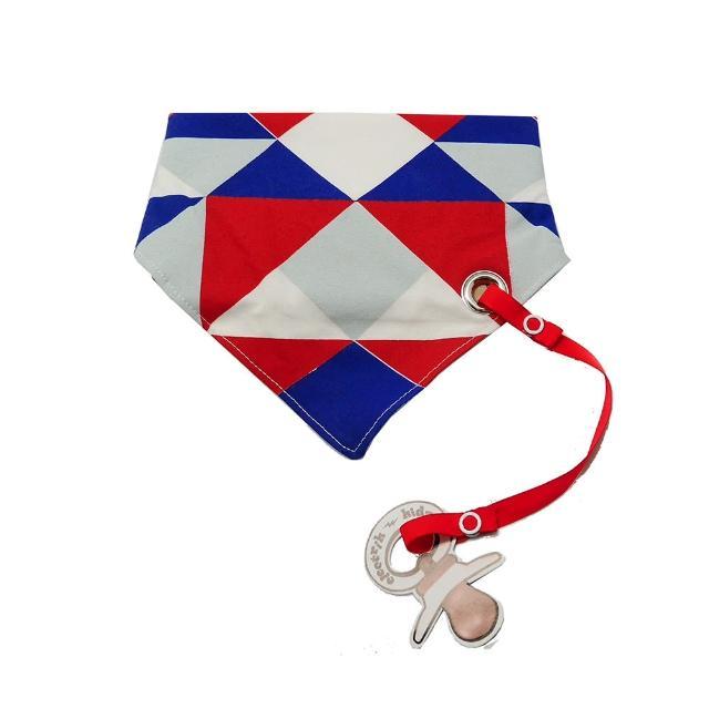 【加拿大Electrik Kidz】海軍藍菱格紋後綁式有機棉圍兜(附奶嘴鏈)