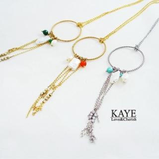 【Kaye歐美流行飾品】復古感珍珠墜圓框項鍊