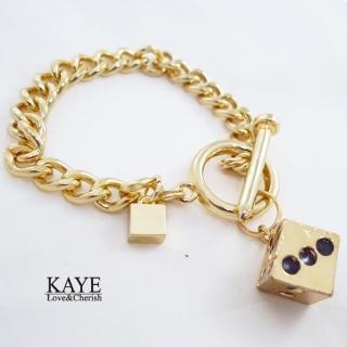【Kaye歐美流行飾品】個性鐵釘骰子方塊造型粗鍊手環