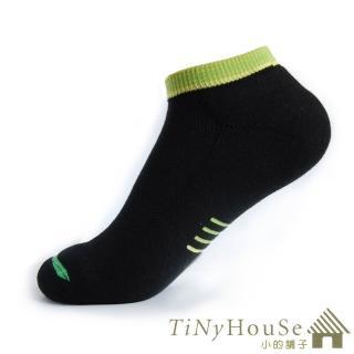 【TiNyHouSe】舒適襪系列 厚底健行船襪 超值2雙組(黑底綠線F號 T-10)