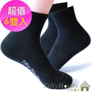 【TiNyHouSe】舒適襪 薄型透氣運動襪 團購6雙組入(黑色M/L號 T-05)