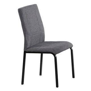 【AT HOME】現代簡約黑腳灰布餐椅