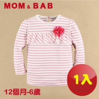 【MOM AND BAB】紅條花朵圓領T恤長袖純棉上衣(12M-6T)