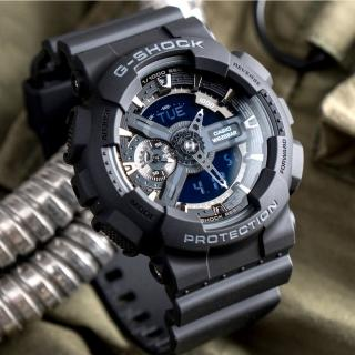 【CASIO 卡西歐】G-SHOCK 暗黑重機裝置指針雙顯概念錶-黑/ 55mm(GA-110-1BDR)