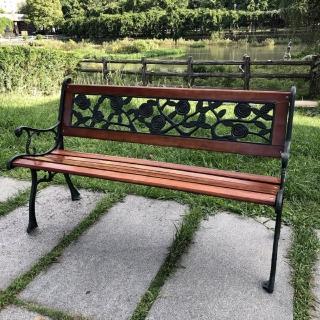 【BROTHER 兄弟牌】玫瑰雙人鑄鐵公園椅附椅背(戶外傢俱)