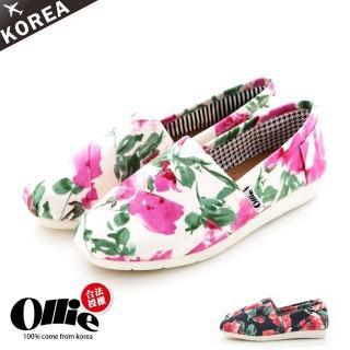【Ollie韓國空運】正韓製/版型正常。波希米亞風彩繪花朵帆布懶人鞋(72-53/現貨)