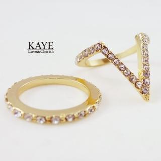 【Kaye歐美流行飾品】V字鑲嵌水鑽造型戒指二入
