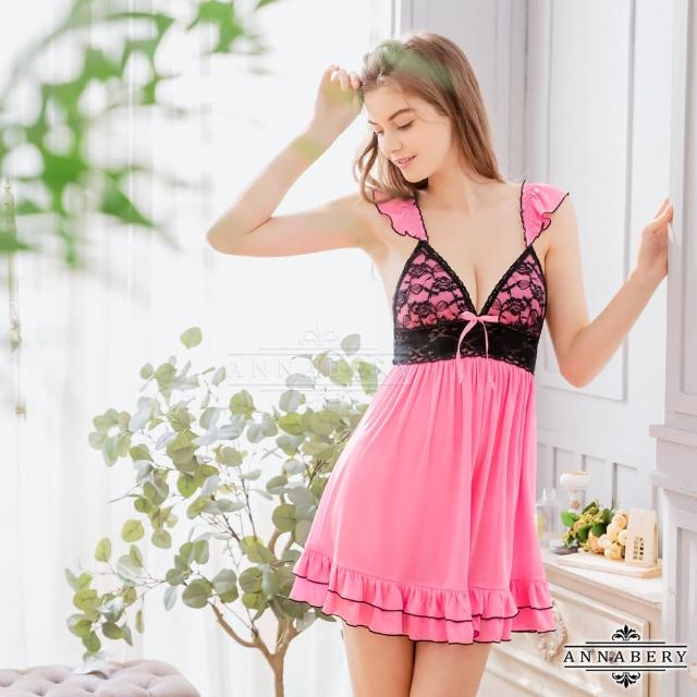 【Annabery】大尺碼Annabery粉莓紅黑蕾絲甜美柔緞睡衣