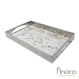 【finara費納拉】自然奢華系-不銹鋼天然貝殼馬賽克托盤(L)