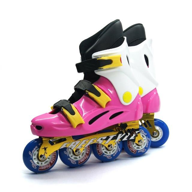 【D.L.D多輪多】鋁合金底座 專業競速直排輪 溜冰鞋(粉紅白 -- FS-1)