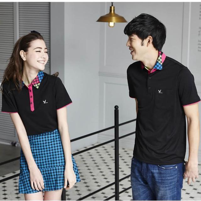 【LEIDOOE】立領格紋拼接男版短袖-黑色(16523)網友推薦