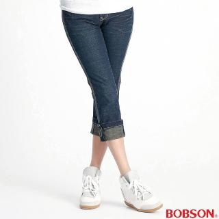 ~BOBSON~女款反摺褲口伸縮7分牛仔褲 藍52