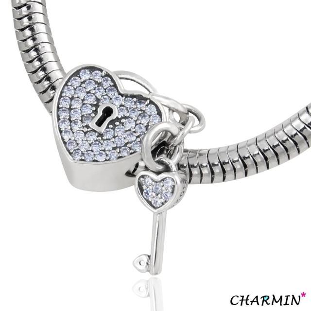 【E&I】CHARMIN 時尚創意手鍊 未完成的愛情 925純銀愛心鑲鑽造型吊飾(淺藍)網路狂銷