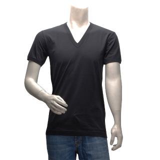【DOLCE&GABBANA】簡約純色短袖V領T恤(黑 G8Y78T-G7OD0- N0000)