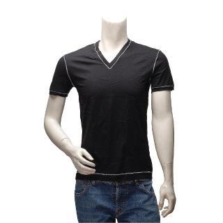 【DOLCE & GABBANA】經典款縫線飾邊V領短袖純棉素面T恤(黑M14807-N0000-BLK)