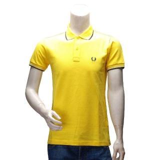 【FRED PERRY】經典刺繡LOGO素面雙線立領短袖POLO衫(黃30162009-2348)