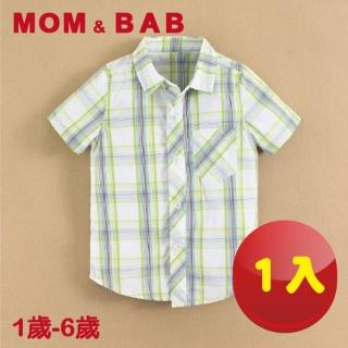 【MOM AND BAB】格紋短袖純棉襯衫上衣-單件組(12M-6T)