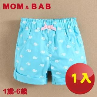 【MOM AND BAB】冰雪鯨魚水藍純棉短褲-單件組(12M-6T)