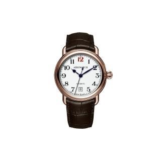 【AEROWATCH】復刻紳士時尚機械腕錶-玫瑰金框x咖啡/40mm(A60900RO15)