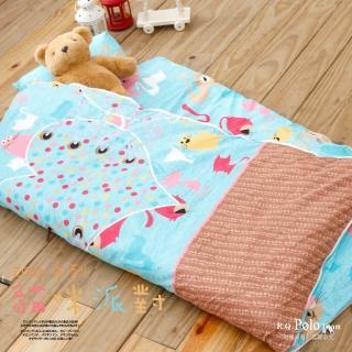 【R.Q.POLO】ZOO系列-貓咪派對 絲棉柔/兒童冬夏兩用鋪棉書包型睡袋(4.5X5尺)