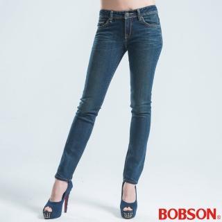 【BOBSON】貓鬚刷白伸縮直筒褲(藍9018-54)