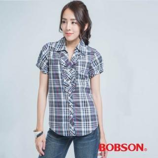 【BOBSON】女款格子長版襯衫(23136-88)