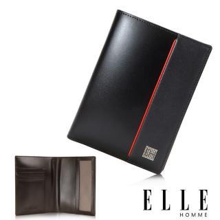 【ELLE HOMME】法式 護照中夾 嚴選義大利頭層牛皮(黑EL81967-02)