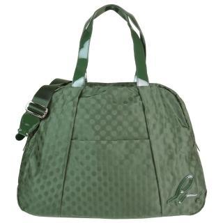 【agnes b】點點抓皺旅行袋(墨綠)