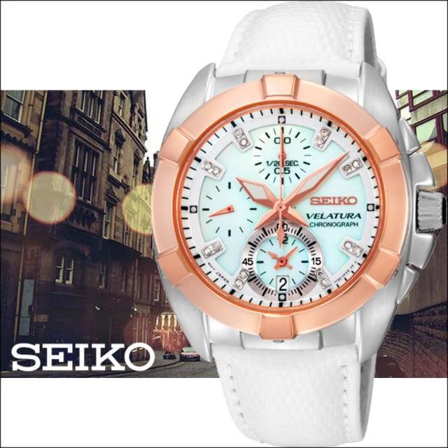 【SEIKO 精工】VELATURA 海洋之心 真鑽計時腕錶(白x玫瑰金/7T92-0KS0S)限時特價