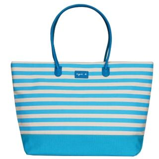 【agnes b】帆布皮標橫條紋手提包(大/水藍)
