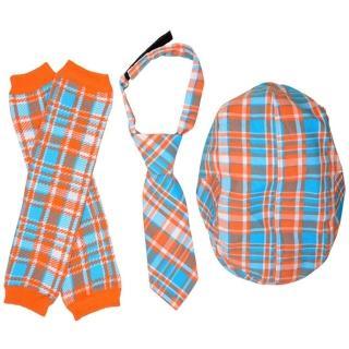 【美國 juDanzy】紳士寶寶禮盒三件組_藍橘格紋款(Z003)