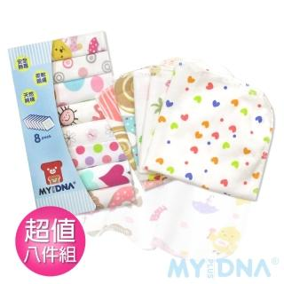 【MY+DNA熊本部】可愛印花小方巾超值八入組-女(不挑款式隨機出貨)