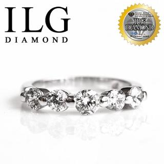 【ILG】頂級八心八箭擬真鑽石戒指-RI048-歐式線戒 名媛風格款五顆美鑽線戒款(戒指)