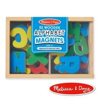 【美國瑪莉莎 Melissa & Doug】大小寫英文字母木質磁鐵貼(52 pcs)