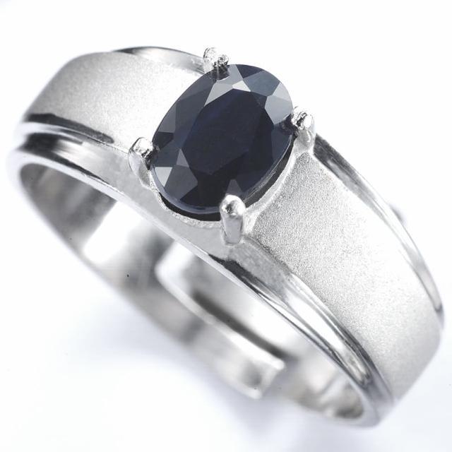 【寶石方塊】真情相愛1克拉天然黑藍寶石戒指/