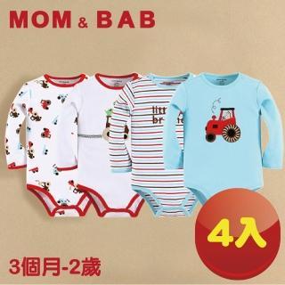 【MOM AND BAB】汽車長袖肩扣 包屁衣(四件組禮盒組)