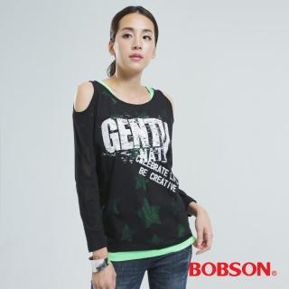 【BOBSON】兩件式燒花布上衣(黑色33096-88)