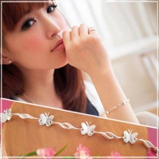 【維克維娜】漂亮蝴蝶。細緻立體亮面蝴蝶 925純銀手鍊