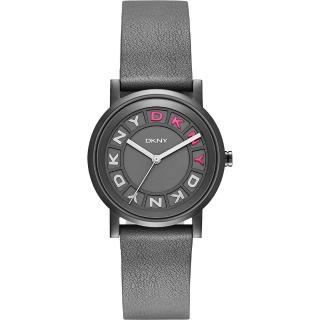 【DKNY】紐約派對都會腕錶-灰黑x桃紅/34mm(NY2390)