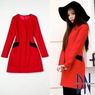 【DN Italy】氣質女伶 羊毛雙色拼接口袋連身洋裝(紅)