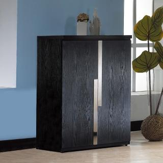 【AT HOME】克德法2.7尺黑色拉門鞋櫃(內附活動隔板)
